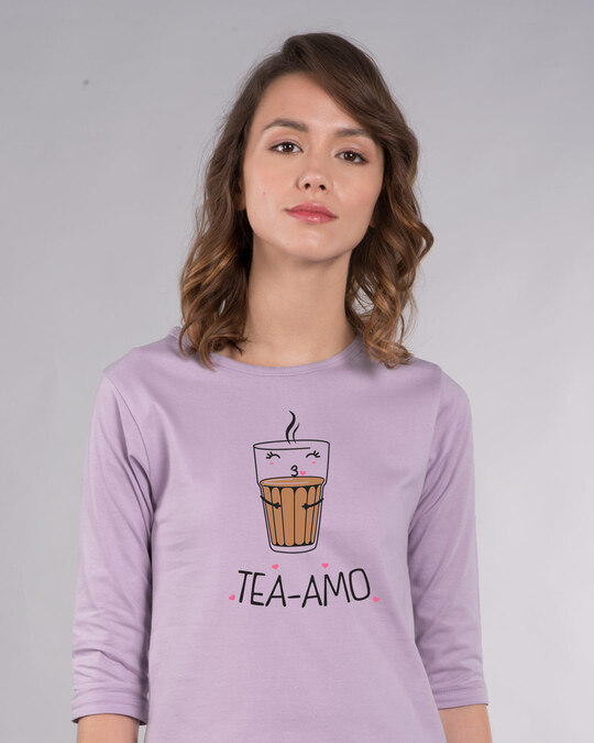 Shop Tea-amo Round Neck 3/4th Sleeve T-Shirt-Front