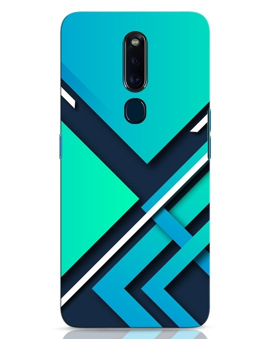Shop Teal Block Oppo F11 Pro Mobile Cover-Front