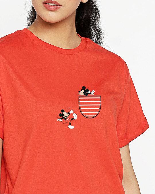 Shop Teasing Mickey Boyfriend T-Shirt (DL)-Front