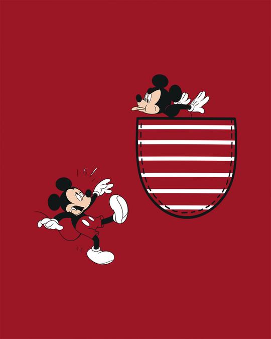 Shop Teasing Mickey Half Sleeve T-shirt (DL) Bold Red
