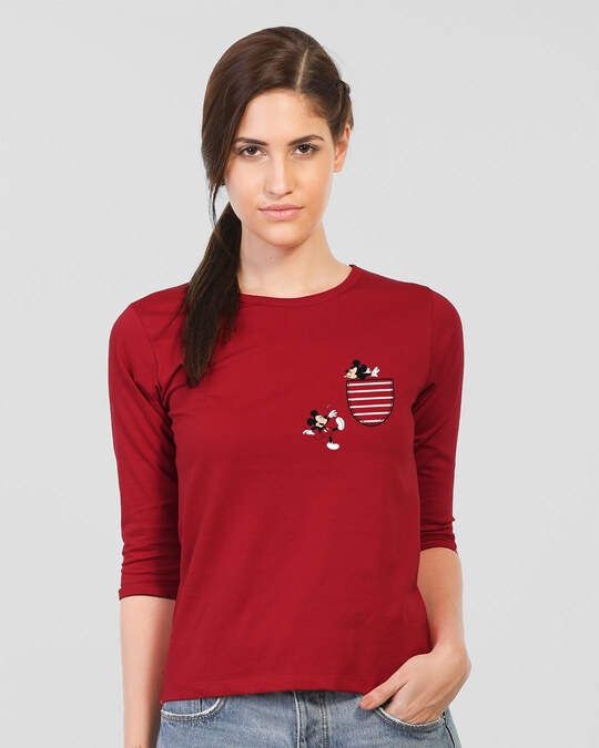 Shop Teasing Mickey Round Neck 3/4th Sleeve T-Shirt (DL)-Back