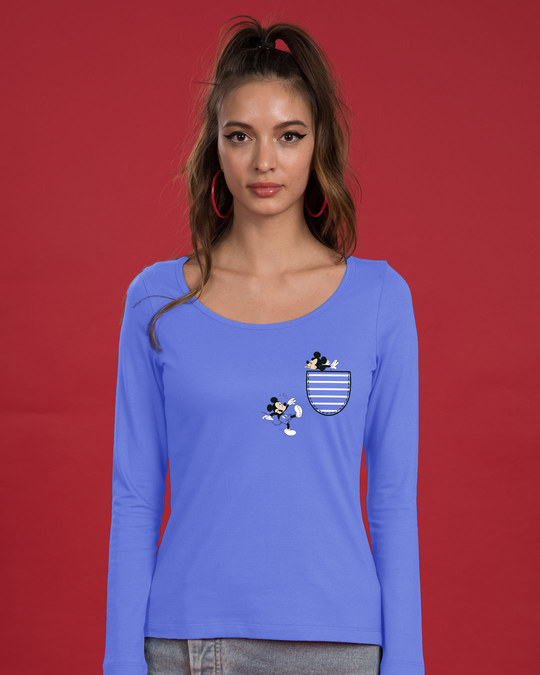 Shop Teasing Mickey Scoop Neck Full Sleeve T-Shirt (DL)-Back