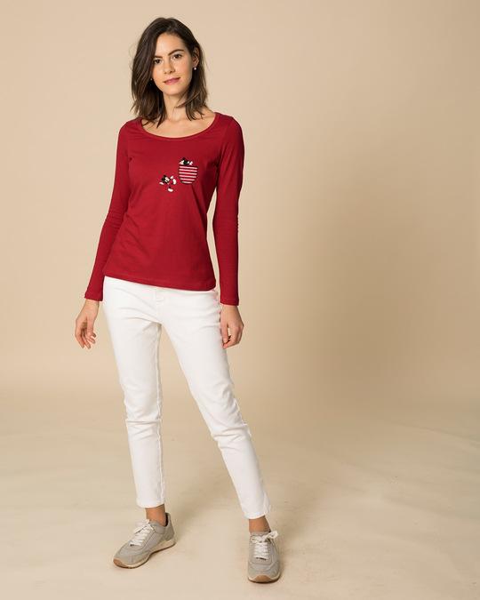 Shop Teasing Mickey Scoop Neck Full Sleeve T-Shirt (DL)-Full