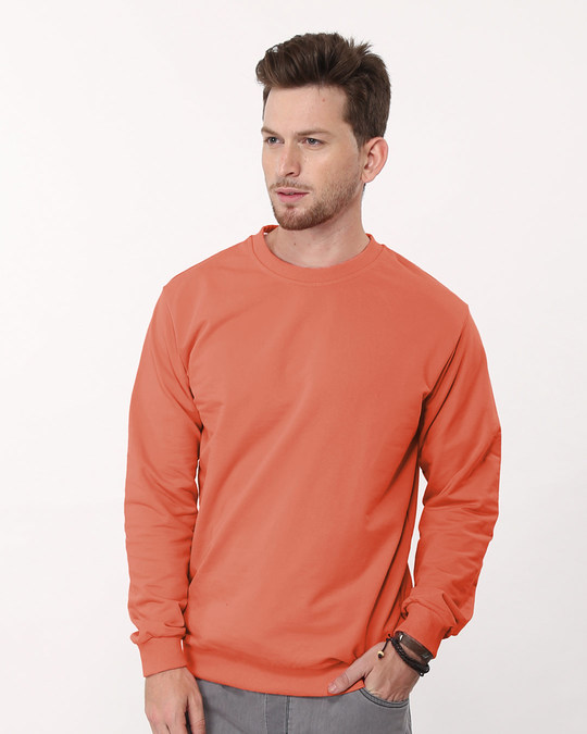 Shop Terracota Orange Crew Neck Sweatshirt-Front