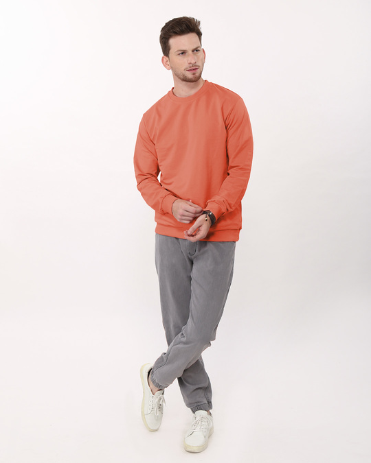 Shop Terracota Orange Crew Neck Sweatshirt-Full
