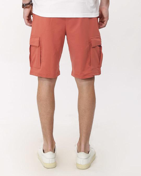 Shop Terracota Orange Fleece Cargo Pocket Shorts-Design