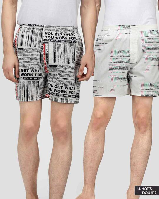 Shop   Text Boxers Combo (Pack Of 2)-Front