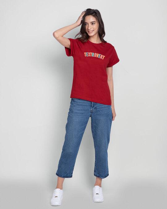 Shop Textrovert Boyfriend T-Shirts Bold Red-Design