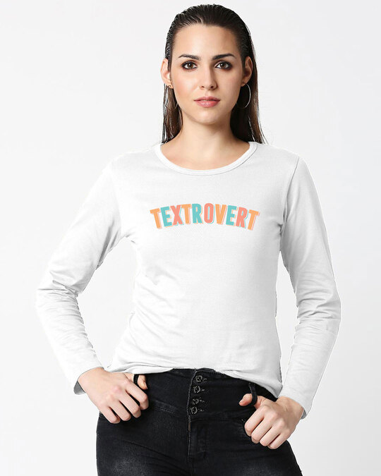 Shop Textrovert Full Sleeves T Shirt White-Front