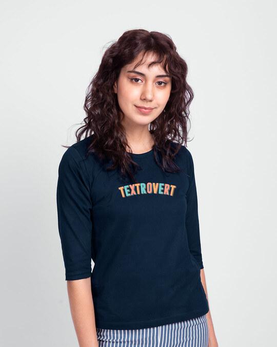 Shop Textrovert Round Neck 3/4 Sleeve T-Shirts Navy Blue-Front