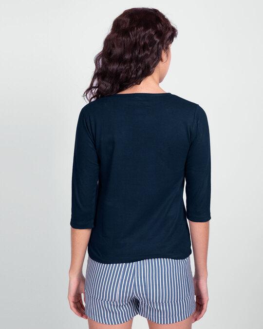Shop Textrovert Round Neck 3/4 Sleeve T-Shirts Navy Blue-Back