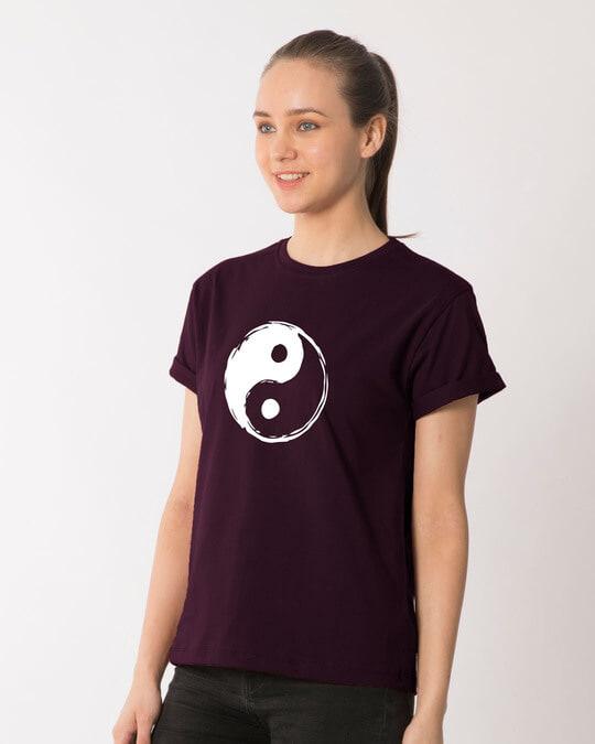 Shop Textured Yin Yang Boyfriend T-Shirt-Back