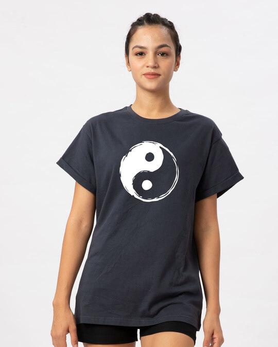 Shop Textured Yin Yang Boyfriend T-Shirt-Front