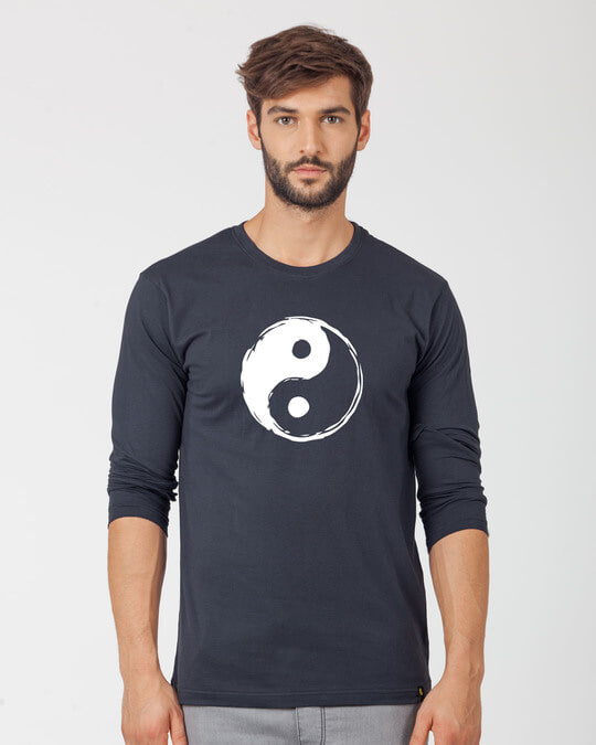 Shop Textured Yin Yang Full Sleeve T-Shirt-Front