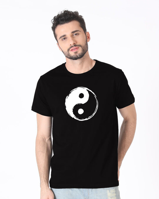 Shop Textured Yin Yang Half Sleeve T-Shirt-Back