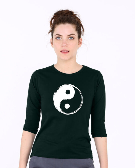 Shop Textured Yin Yang Round Neck 3/4th Sleeve T-Shirt-Front