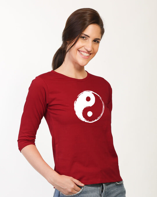 Shop Textured Yin Yang Round Neck 3/4th Sleeve T-Shirt-Back