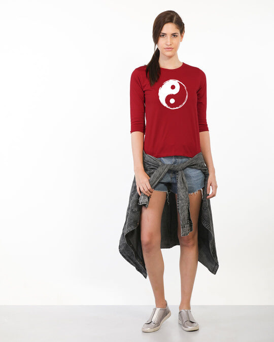 Shop Textured Yin Yang Round Neck 3/4th Sleeve T-Shirt