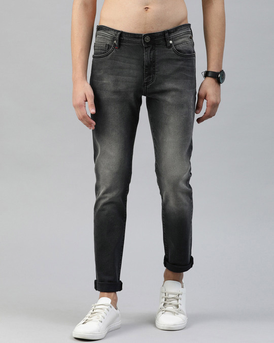 Shop Grey Tapered Slim Fit Jeans-Front
