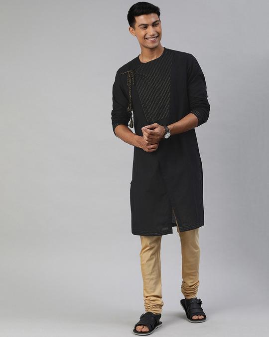 Shop Men Black Angrakha Style Festival Kurta-Full