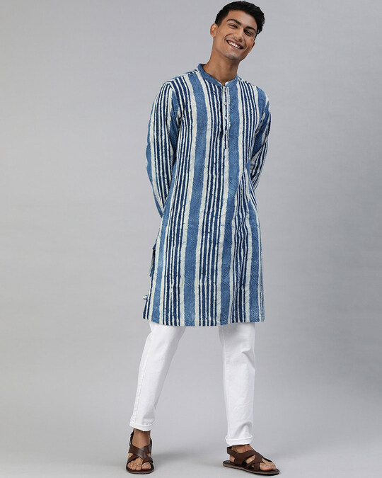 Shop Men Cut Butta Indigo Hand Block Printed Sustainable Kurta-Front