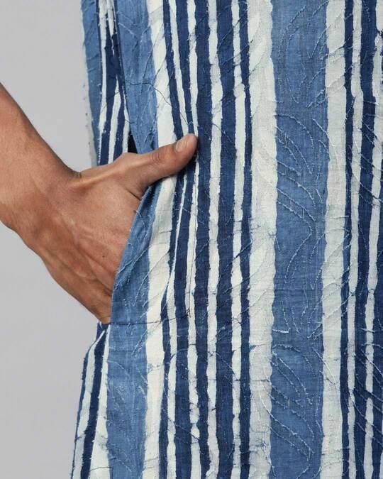 Shop Men Cut Butta Indigo Hand Block Printed Sustainable Kurta