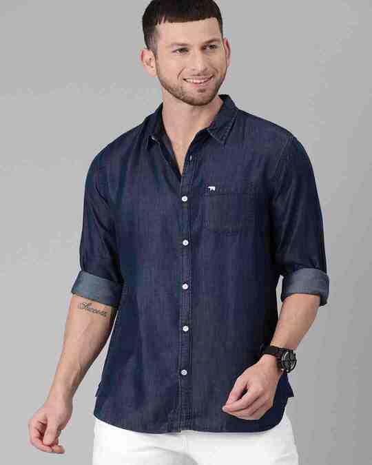 Shop Men's Blue Core Denim Shirt-Full