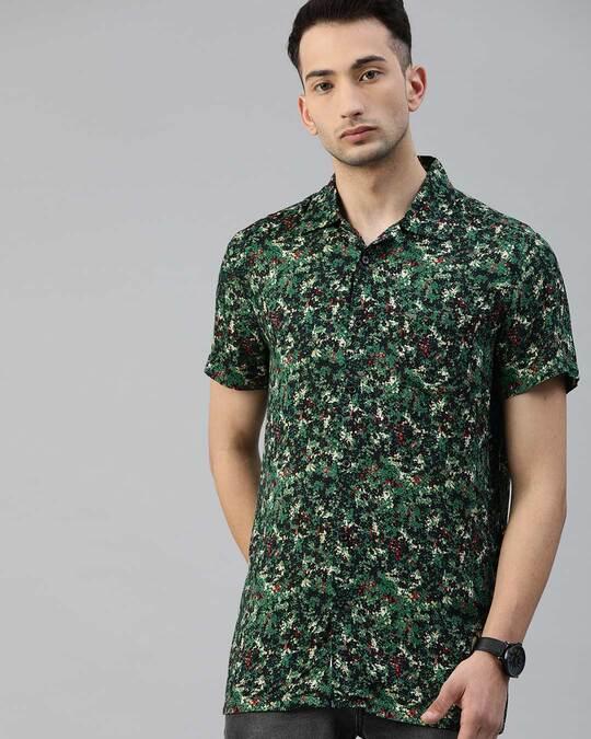 Shop Men's Printed Bowling Collar Shirt-Front