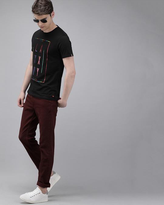 Shop Printed Men Round Neck Black T Shirt-Full