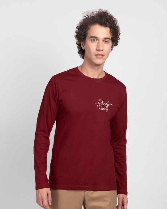 Shop The Best is Yet to Come  Full Sleeve T-Shirts Scarlet Red-Back