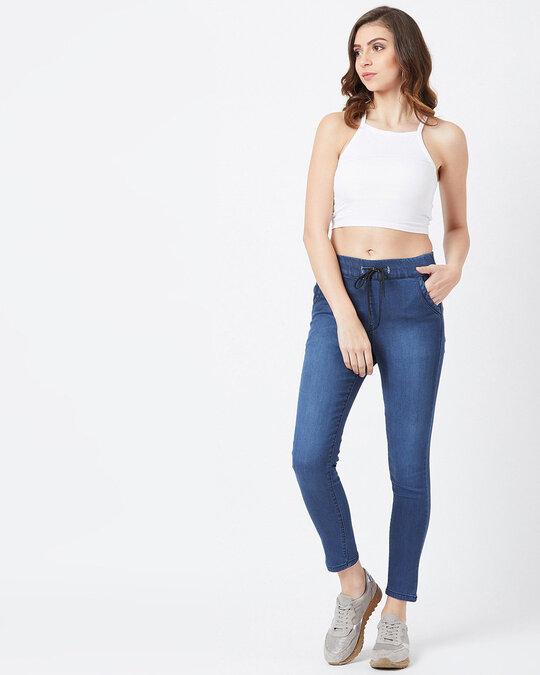 Shop Women Blue Medium Wash 4 Pocket Mid Rise Jeans-Full