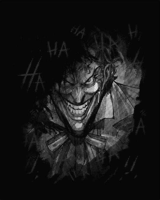 Shop The Joker Laugh Half Sleeve T-Shirt (GID) (BML)
