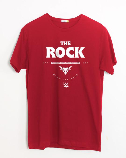 Shop The Rock Half Sleeve T-Shirt (WWEL)-Front