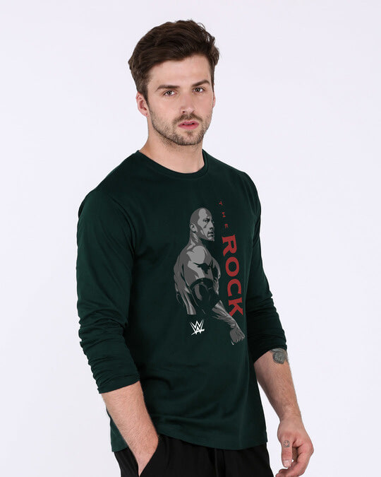 Shop The Rock Is Here Full Sleeve T-Shirt (WWEL)-Back