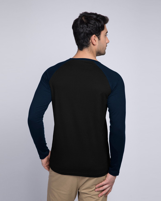 Shop The Show Must Go On Full Sleeve Raglan T-Shirt Navy Blue-Black-Back