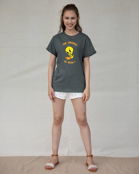 Shop The Snuggle Is Real Boyfriend T-Shirt (TWL)-Full