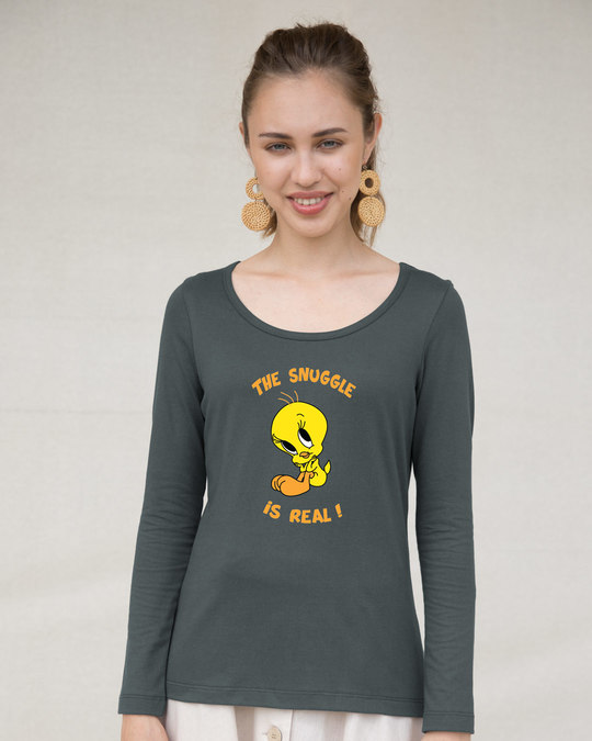 Shop The Snuggle Is Real Scoop Neck Full Sleeve T-Shirt (TWL)-Front