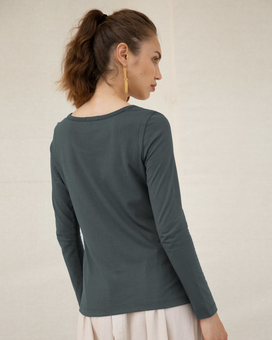 Shop The Snuggle Is Real Scoop Neck Full Sleeve T-Shirt (TWL)-Back