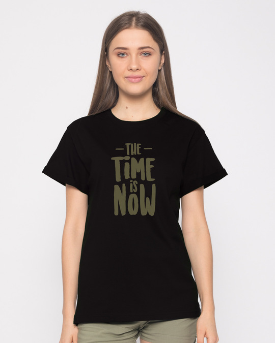 Shop The Time Is Now Boyfriend T-Shirt-Front