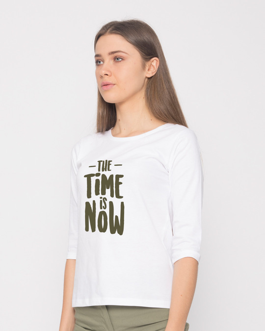 Shop The Time Is Now Round Neck 3/4th Sleeve T-Shirt-Back