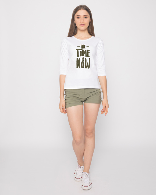 Shop The Time Is Now Round Neck 3/4th Sleeve T-Shirt-Full