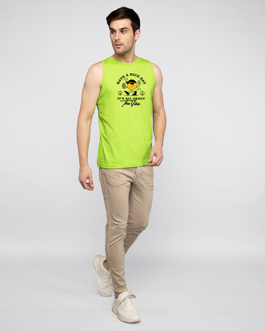 Shop The Vibe Round Neck Vest Neon Green -Full