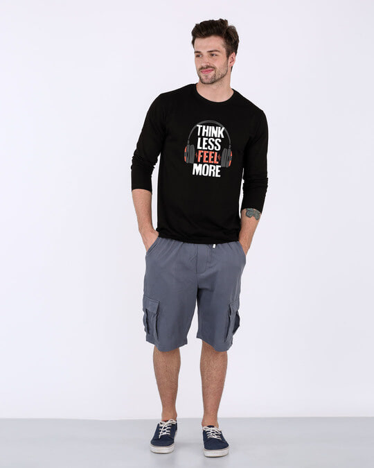 Shop Think Less Feel More Full Sleeve T-Shirt