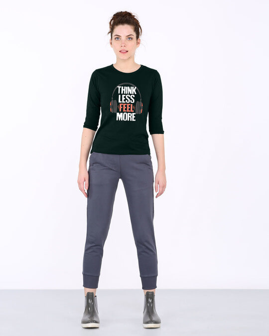Shop Think Less Feel More Round Neck 3/4th Sleeve T-Shirt