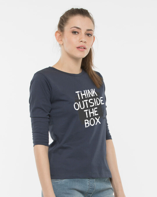 Shop Think Outside Grunge Round Neck 3/4th Sleeve T-Shirt-Back