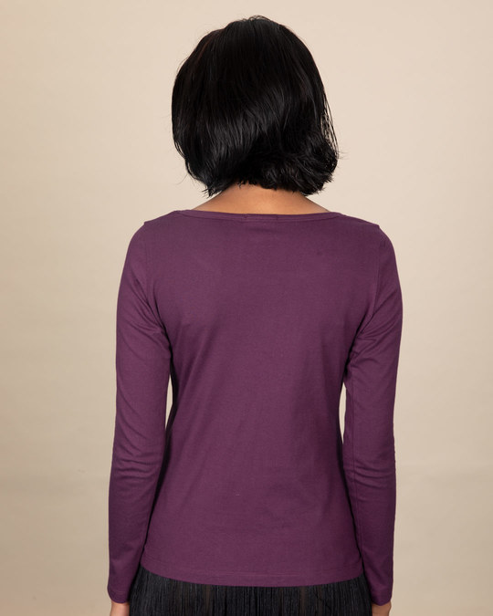 Shop Thinking About Food Scoop Neck Full Sleeve T-Shirt-Back