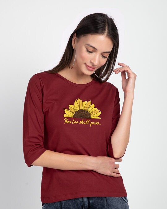 Shop This Too Shall Pass Round Neck 3/4th Sleeve T-Shirt Scarlet Red-Front