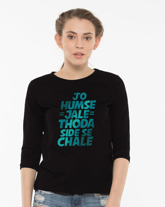Shop Thoda Side Se Chaley Round Neck 3/4th Sleeve T-Shirt-Front