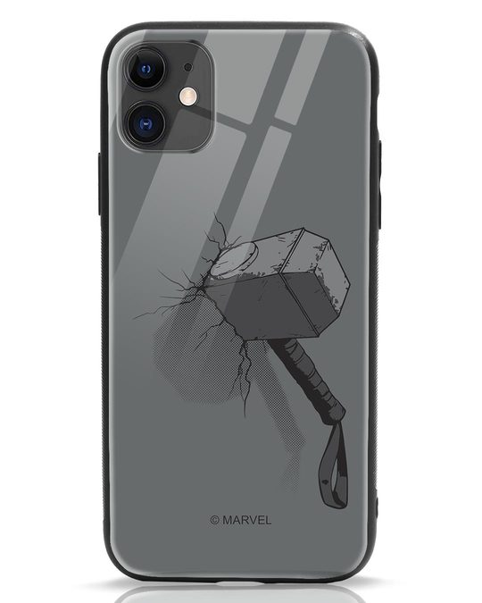 Shop Thor Hammer iPhone 11 Glass Mobile Cover (AVL)-Front