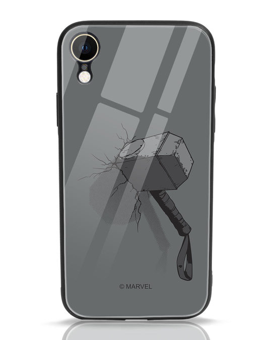 Shop Thor Hammer iPhone XR Glass Mobile Cover (AVL)-Front